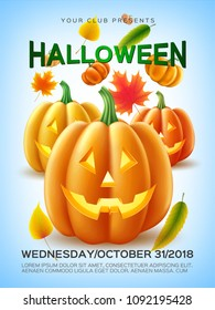 Halloween holiday poster with and autumn symbols set. Spooky pumkin scary face, jack o lantern, autumn falling oak, maple leaves. Harvest and fall objects. Realistic vector illustration.