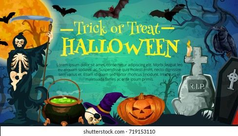 Halloween holiday poster with cemetery and skeleton night graveyard banner with halloween pumpkin lantern