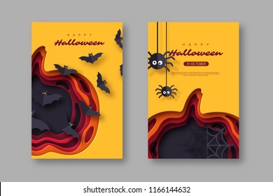 Halloween holiday posters. Paper cut style pumpkin with flying bats and spiders. 3d layered effect. Vector illustration.