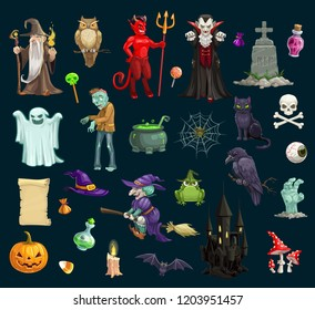Halloween holiday scary and evil vector characters, objects. Wizard and owl, devil and vampire, grave, treat, potion, ghost and zombie, pumpkin and cat, skull and witch, frog and crow, bat and castle