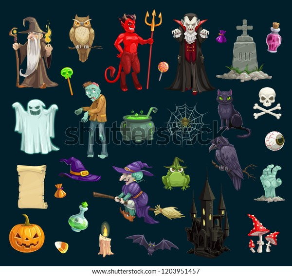 Evil Christmas Characters.Halloween Holiday Scary Evil Vector Characters Stock Vector
