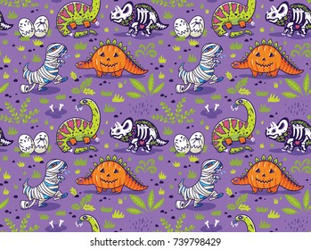 Halloween holiday seamless pattern with dinosaurs in suits of pumpkin, skeleton, zombie and vampire. Vector illustration
