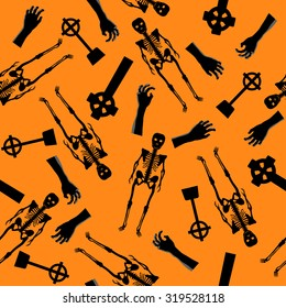 Halloween Holiday Seamless Pattern With Skeleton, Zombie Hand And Grave Stones Over Orange Background for Creating Halloween Designs.  Vector illustration.