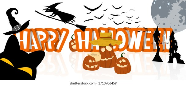 Halloween holiday text with funny pumpkins, black cat, witch on broom, magic hat, moon, witch house and flying bats. Banner, postcard, poster, holiday and greeting card concept. Vector illustration.