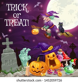 Halloween holiday trick or treat vector design with witch and pumpkins at cemetery. Sorceress flying on broom with black cat and bats, horror lanterns, potion bottle and zombie hand on graveyard