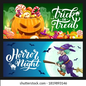 Halloween holiday vector banners with trick or treat candies, pumpkins, ghosts and witch on broom. Horror night full moon, bats, cats and spider nets, skull, zombie brain and worm jellies