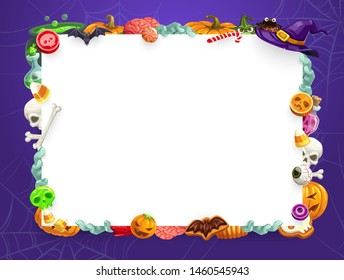 Halloween holiday vector frame of trick or treat sweets and horror night monsters. Pumpkins, witch hat and skeleton skulls, candies, lollipops and cakes, bats, spiders and net, zombie hand and brain
