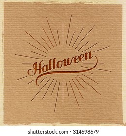 Halloween. Holiday Vector Illustration. Lettering Composition With Light Rays