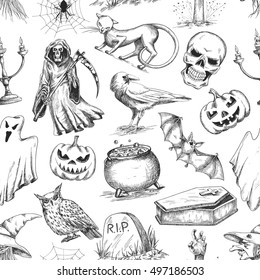 Halloween holiday vector seamless pattern of halloween death reaper, spooky ghost, black cat, bat, skeleton skull, witch cauldron, coffin, tomb. Decoration background for halloween decoration design