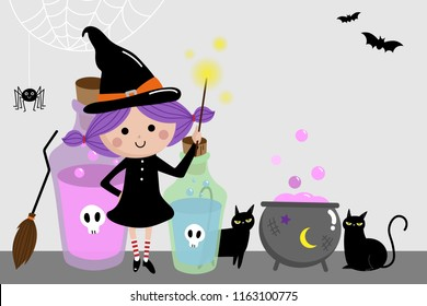 Halloween holidays background with cute witch and black cat. Spooky cartoon character.