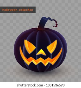 Halloween holliday collection. Latern Jack, black pumpkin with spooky luminous, luminescent smile on transparent background. Simulates soft touch coverage and 3d rendering. Vector illustration.