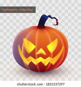 Halloween holliday collection. Latern Jack, orange pumpkin with spooky luminous, luminescent face on transparent background. Simulates soft touch coverage and 3d rendering. Vector illustration.