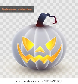 Halloween holliday collection. Latern Jack, white pumpkin with spooky luminous, luminescent smile on transparent background. Simulates soft touch coverage and 3d rendering. Vector illustration.
