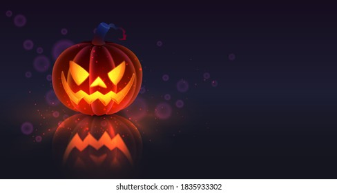 Halloween holliday collection. Latern Jack, orange pumpkin with spooky luminous face and reflection on dark blue background. Simulates soft touch coverage and 3d rendering. Vector illustration.
