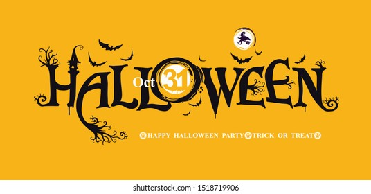 Halloween horizontal banner with festive vector logo. HAPPY HALLOWEEN, Trick or Treat. The inscription with ominous tree branches, bats and a pretty witch on a background of the full moon.
