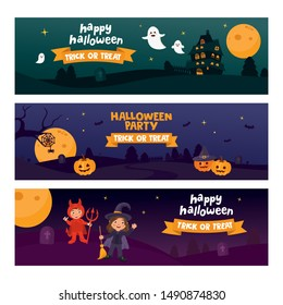 Halloween horizontal banner set template. Place for your text. Vector illustration with vampire and witch character. Pumpkin, ghost, scary house. Great design for Halloween party.
