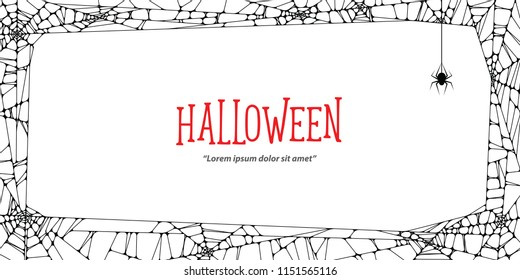 Halloween horizontal frame black cobweb and spider on white background ilustration vector. Halloween concept.