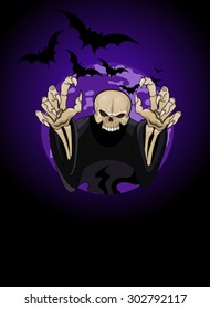 Halloween horrible Grim Reaper against the backdrop of the full moon
