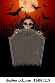 Halloween horrible Grim Reaper over  tomb stone