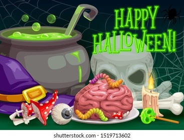 Halloween horror night vector greeting card. Witch hat, skull and spider net, trick or treat candies, zombie brain and eyeball, skeleton bones, potion cauldron, candles and poisonous mushrooms