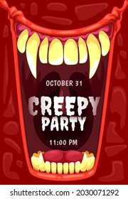 Halloween horror party invitation with vampire mouth vector frame. Open jaws of creepy dracula monster, scary demon or devil with bloody red lips, sharp teeth, fangs, Halloween holiday poster design