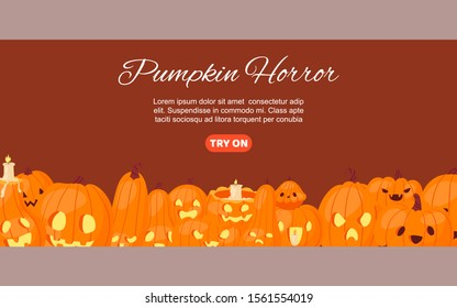 Halloween horror pumpkin-heads, candles and Jack o laterns vector illustration. Pumpkins with fire at spooky night and autumn holidays poster with text and calligraphy.