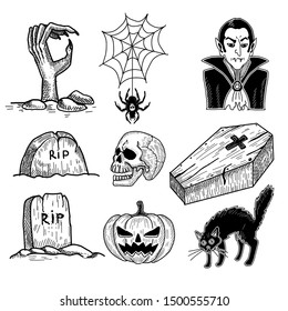 Halloween horror set: grave with zombie hand, vampire and coffin and black cat hand drawing.