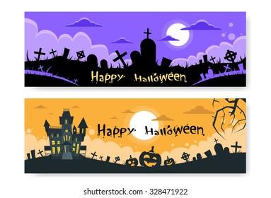 Halloween House Cemetery Graveyard Card Pumpkin Face Banner Flat Vector Illustration