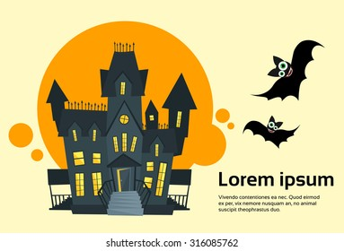 Halloween House Ghost Party Invitation Card Banner Flat Vector Illustration