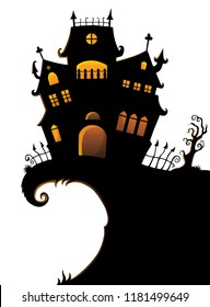 Halloween house silhouette theme 1 - eps10 vector illustration.