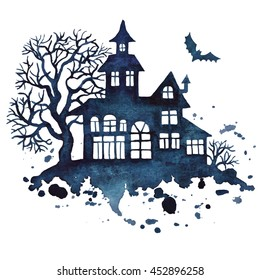 Halloween house and trees silhouette, watercolor vector illustration isolated on a white background.