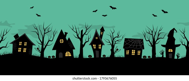 Halloween houses. Creepy village. Seamless border. Black silhouettes of houses and trees on a green background. There are also bats, pumpkins and skeletons in the picture. Vector illustration