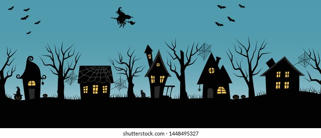 Halloween houses. Spooky village. Seamless border. Black silhouettes of houses and trees on a blue background. There are also bats, pumpkins and a witch on a broomstick in the picture. Vector