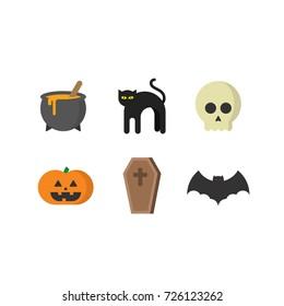 Halloween icon set. Flat modern design illustrations.