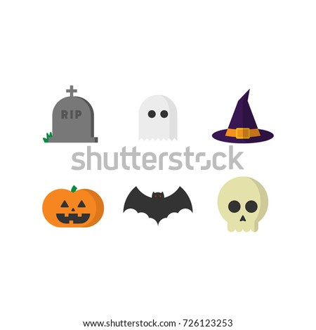 Halloween icon set. Flat modern design illustrations.