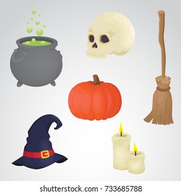Halloween icon set isolated on neutral background.