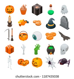 Halloween icon set. Isometric set of Halloween vector icons for web design isolated on white background