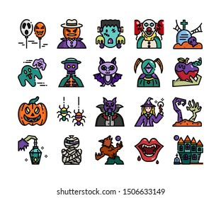 Halloween icon set, vector and illustration
