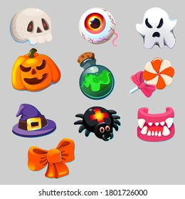 Halloween icon set vector illustration isolated, eye, pumpkin, bow, candy, Ghost