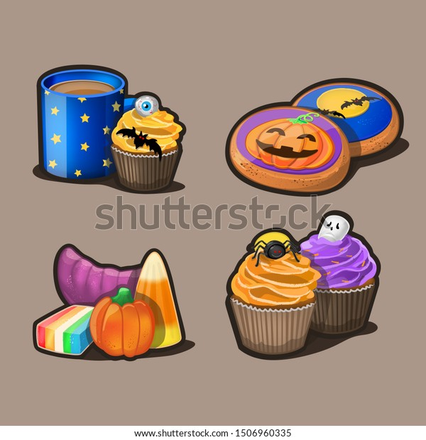 Halloween icon set. Vector Illustration
