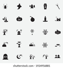 Halloween icon set,symbol and vector,Can be used for web, print and mobile