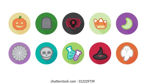 Halloween Icons in a long shadow style.  Ten cute Halloween icons featuring a pumpkin lack-o-lantern, gravestone, spider, candy corn, moon, spider web, skull, potion bottles, witch hat, and ghost.