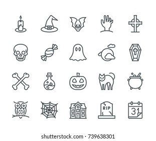Halloween Icons, Monoline concept The icons were created on a 48x48 pixel aligned, perfect grid providing a clean and crisp appearance. Adjustable stroke weight.