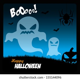 halloween icons over sky background vector illustration