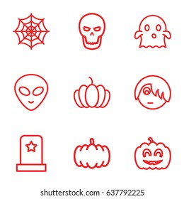 Halloween icons set. set of 9 halloween outline icons such as pumpkin, spider web, pumpkin haloween, skull, headstone, emo emot, ghost