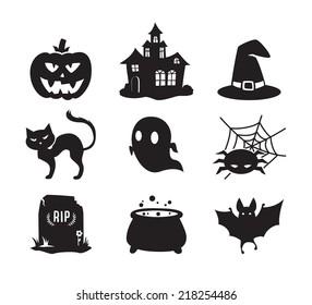 Halloween icons set / Black&White /