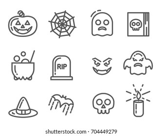Halloween icons set. Linear signs collection