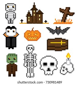 Halloween icons set. Pixel art. Old school computer graphic style. Games elements.