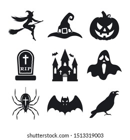 Halloween icons set. Pumpkin, Witch, bat, witch hat, ghost, spider, grave, crow, and witches castle. Vector icons on white background