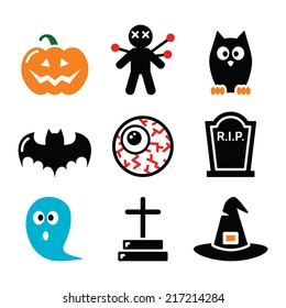 Halloween icons set - pumpkin, witch, ghost